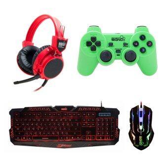 Signo ชุด คีย์บอร์ด + หูฟัง + จอย + เมาส์ รุ่น KB-719,HP-802,GP-801,GM-910 (สีดำ/สีแดง/เขียว/สีดำ)