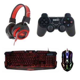 SIGNO ชุด คีย์บอร์ด + หูฟัง + จอย + เมาส์ รุ่น KB-719,HP-805,GP-801,GM-910 (สีดำ/สีแดง/สีดำ)