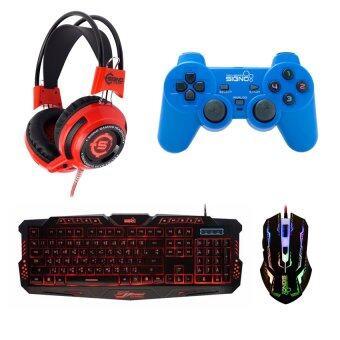 SIGNO ชุด คีย์บอร์ด + หูฟัง + จอย + เมาส์ รุ่น KB-719,HP-806,GP-801,GM-910 (สีดำ/สีแดง/สีน้ำเงิน/สีดำ)