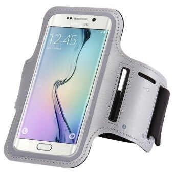 Sport Arm Band Gym Waterproof Case PU Leather Phone Cover for Samsung Galaxy S6 Edge G9250 (Grey)
