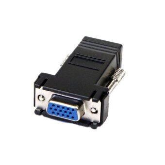VGA Extender To Lan Cat5 Cat5e RJ45 Ethernet Female Adapter (Black)