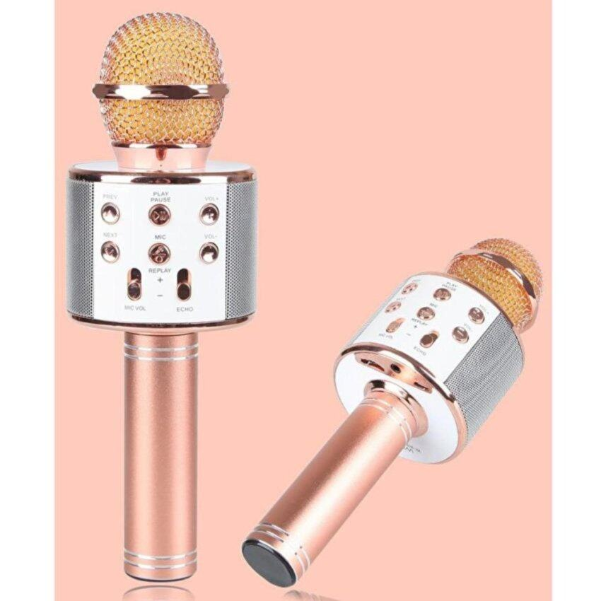 Wster Wireless Microphone HIFI Speaker WS-858 เครื่องเล่นคาราโอเกะ บลูทูธ ไร้สาย ไมโครโฟนคอนเดนเซอร์ ลำโพง ในตัวเดียว (สีชมพู)