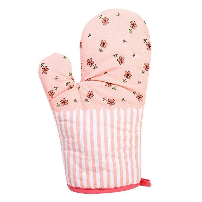 100% Cotton Kitchen Microwave Oven Heat Resistant Glove (Pink & Flowers) - intl ...