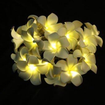 20-LED 78inch Battery Operated White Plumeria Flower String Lamp Light