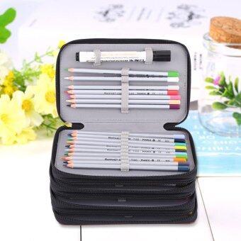 4 Layers 72 Slots PU Leather Large Capacity Pencils Bag StationeryOrganizer (Black) - intl