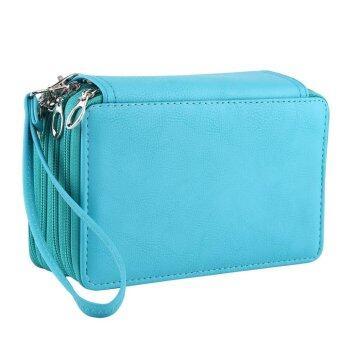 4 Layers 72 Slots PU Leather Pencil Case Stationery Holder LargeCapacity Pen Bag (Bluish Green