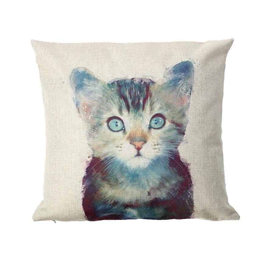 43*43cm Flax Animal Printed Pillowcase Cushion Cover Sofa Decoration - intl ...