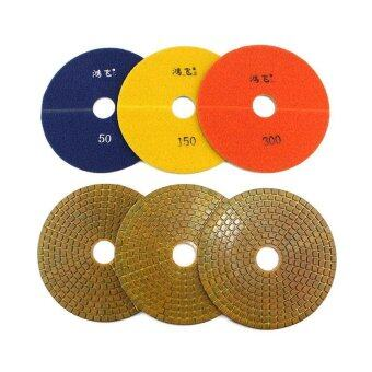 8inch 3 PCS Metal Diamond Polishing Pads 200mm Grit50-300 Wet Polishing Application of Diamond Polishing Granit Marble Concrete Processing - intl