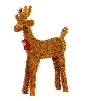 AllMerry Christmas กวางเรนเดียร์ยืนสีทองโบว์แดง 3 ฟุต (โครงลวด) - Gold