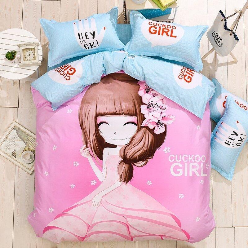 Bedding Cheap ผ้าปูที่นอน ชุดผ้านวม เกรด A 6 ฟุต 6 ชิ้น เจ้าหญิง 005