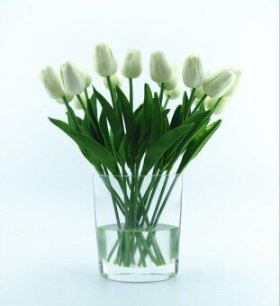 Black Horse Artificial Flower Wedding Bridal Party Decor Home mini tulip 35cm(White)