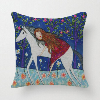 Cartoon White Horse and Gril Pillow Case (Blue)