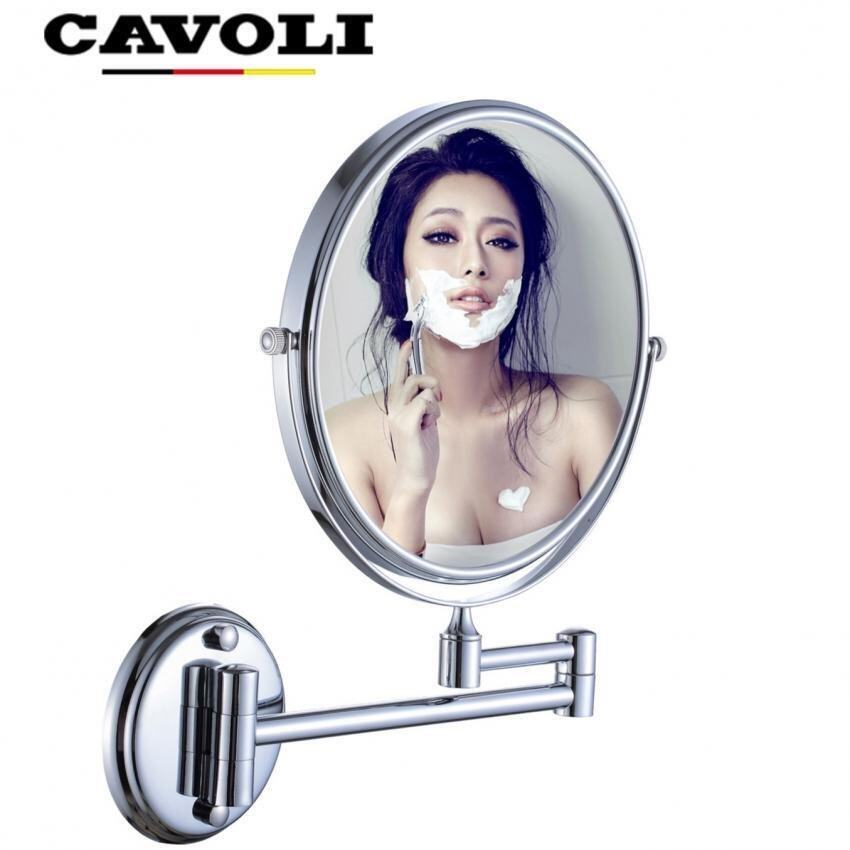Cavoli 8 Inches Double-sided Wall Mount Make up Mirror Cosmetic Shaving Bathroom Mirror with Chrome Finish(3x Magnification)