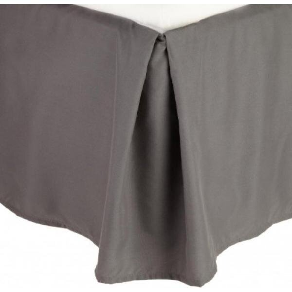 Clara Clark Premier 1800 Collection Solid Bed Skirt Dust Ruffle, King, Charcoal Gray - intl