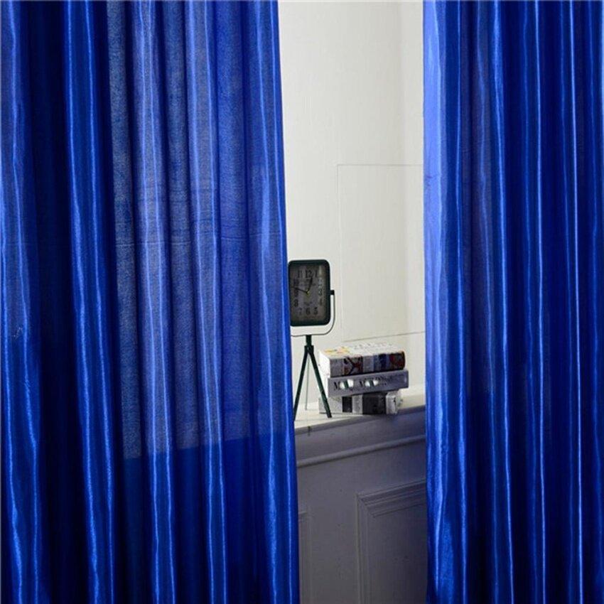 Coconiey Fashion Window Curtains Solid Color Window Treatment Panels Door Drape Blue - i ...