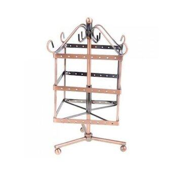Copper Color Metal Rotating Revolving Earring Jewelry Display StandRack 96 Holes