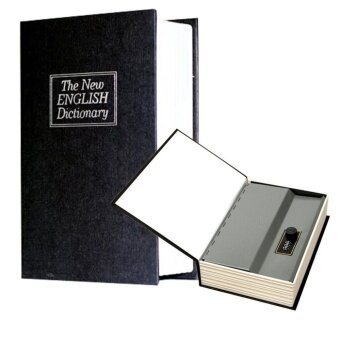 Dictionary Style Safe Secret Stash Money Cash Security Box with Combination Lock Strong Steel Construction Hollow Book for Money and Jewelry Storage M(Outside: 24*16*5.5cm) - intl
