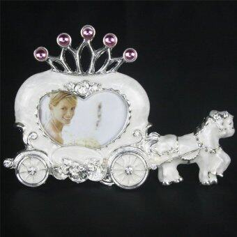 Fashion White Horse Carriage Heart Home Decor Photo Frame Alloy Metal 3'' (Intl)