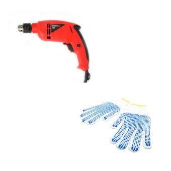 HHsociety สว่านไฟฟ้า 750 W. + HHsociety ถุงมือผ้างานช่าง 2 คู่/แพ็ค (สีขาว)
