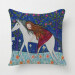 HKS Cartoon White Horse and Gril Pillow Case (Blue)