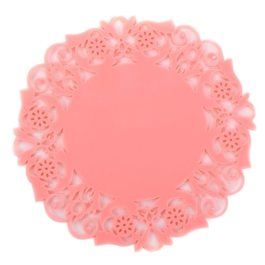 HL Pvc Lace Flower Cup Coaster Pad Nonslip Cushion Placement - intl