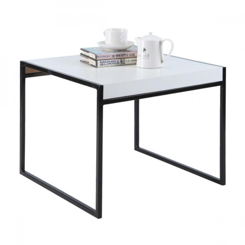 Index Living Mall โต๊ะกลาง 55 ซม. ขอบเหล็กสีดำท๊อปพีวีซีกันน้ำ -สีขาว พระกาฬร้องจ๊าก