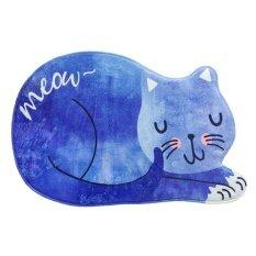 Jhs Cat Cartoon Mat Bathroom Carpet Living Room Bedroom Rug Cat Floortable Mats Non-Slip Kitchen Carpet Doormats - Blue + S/40*60cm - Intl ราคา 338 บาท(-35%)