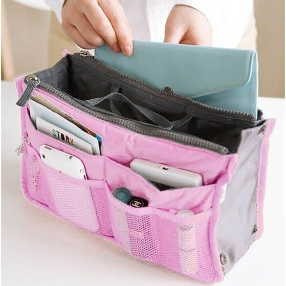 JinGle Multi-Pocket Organizer Storage Case Pouch Bag (Pink) ...