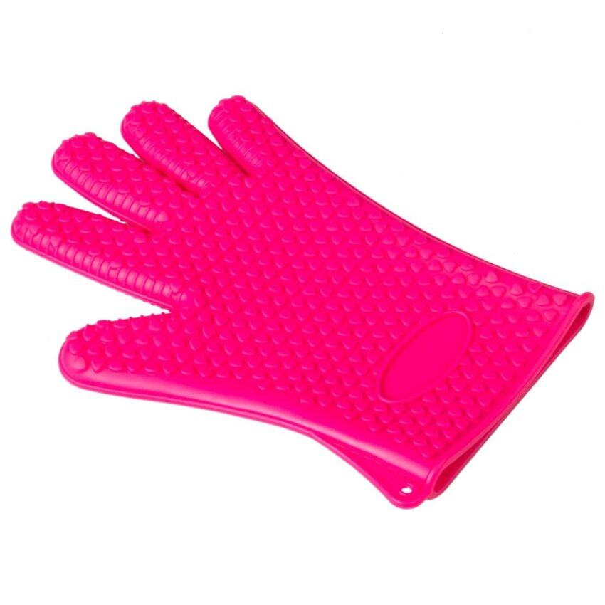 Kitchen Silicone Anti-hot Single Glove For Oven Pot Holder Baking BBQ Rose Red - intl ...