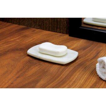 LZ Marble Stone Soap Dish In Curvy Rectangular Shape Made Outof Indian White Marble - intl