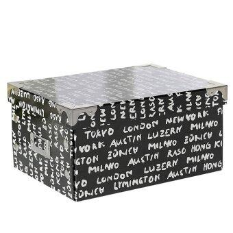 M Size DIY Black And White Letter Pattern Art Paper Floding Buttoned Storage Box 7057 - Intl