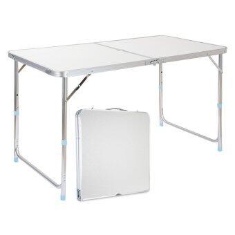 MaxDe โต๊ะพับอลูมิเนียม แบบกระเป๋าพกพา ปรับความสูงได้ ขนาด 120 x 60 cm ขาอลูมิเนียม ผิว MDF (สีขาว)