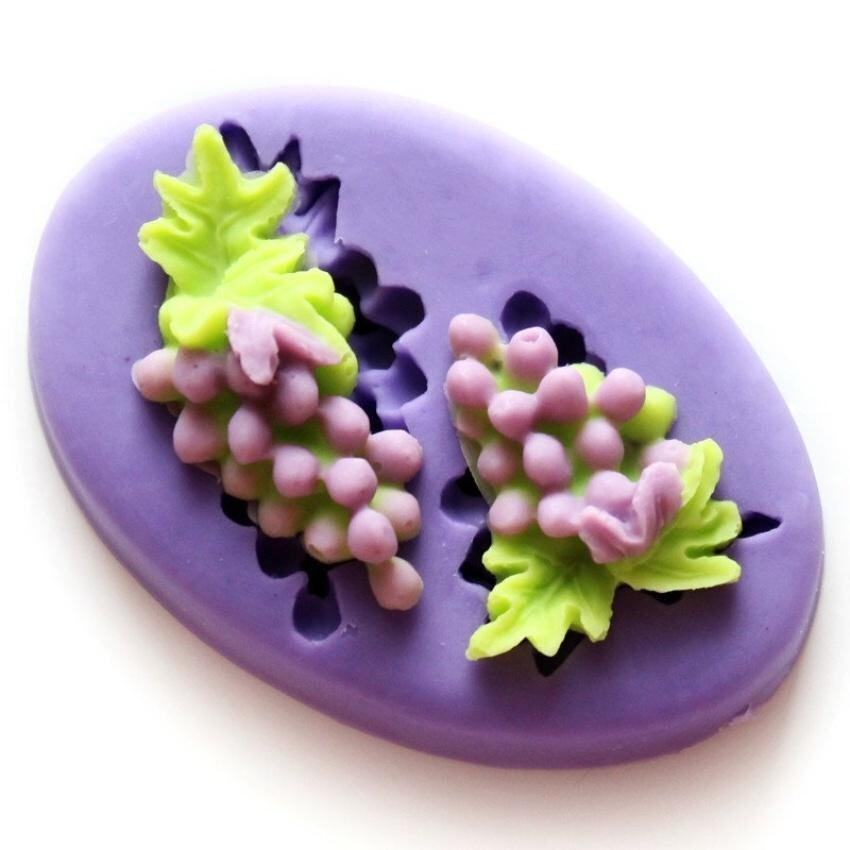 Mini Silica Gel Fondant Mould Grape Chocolate Polymer Clay Mobilephone Decoration Soft Mould Bakeware Color Green F0367pt50 - intl