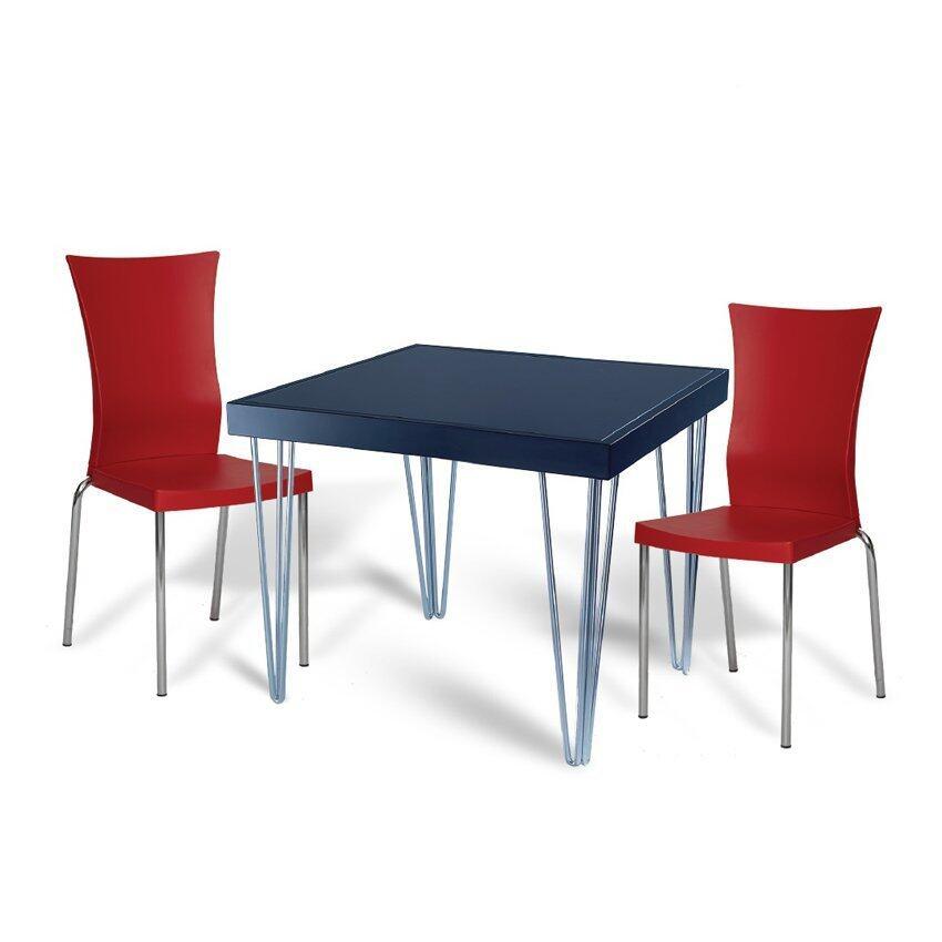 Modena ชุดโต๊ะอาหาร HUNTER80 (สีดำ) ฟรี เก้าอี้ ROYAL SEEMOO-RED (สีแดง)