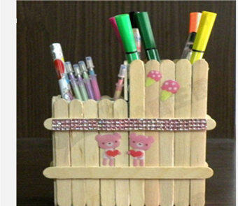 New 200Pcs Wooden Popsicle Stick Kids Hand Crafts Art Ice Cream Lolly Cake DIY Making