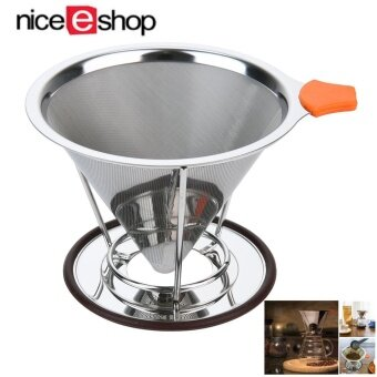 niceEshop Pour Over Coffee Filter, Stainless Steel Cone CoffeeDripper Reusable Double Mesh Pour Over Coffee Maker With SeparateStand For 1-4 Cups - intl