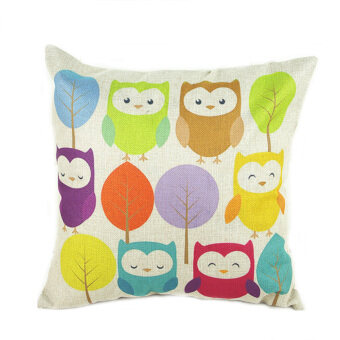Owls and Trees Pillow Cove (Multicolor)
