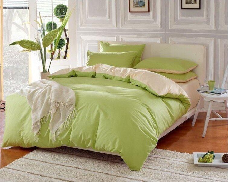 P Cotton ผ้าปูที่นอน 6ฟุต 5ชิ้น ผ้านวม รุ่น ALK016 - สีครีม/เขียวมะนาว