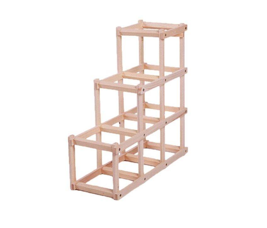 ruixiang Wooden Folding Wine Rack Holder Storage Display Stand (Burlywood) - intl