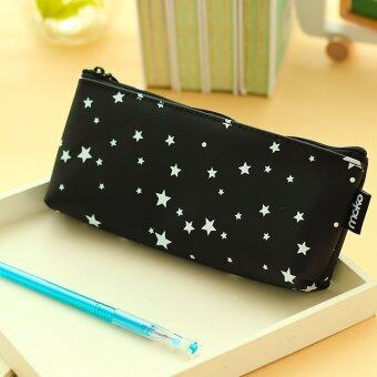 Silica Gel Slim Pencil Case Penscil Box Fashion Design (Black)