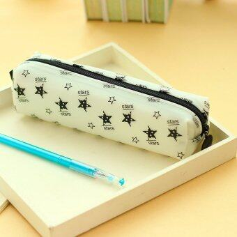 Silica Gel Slim Pencil Case Penscil Box Fashion Design (White)