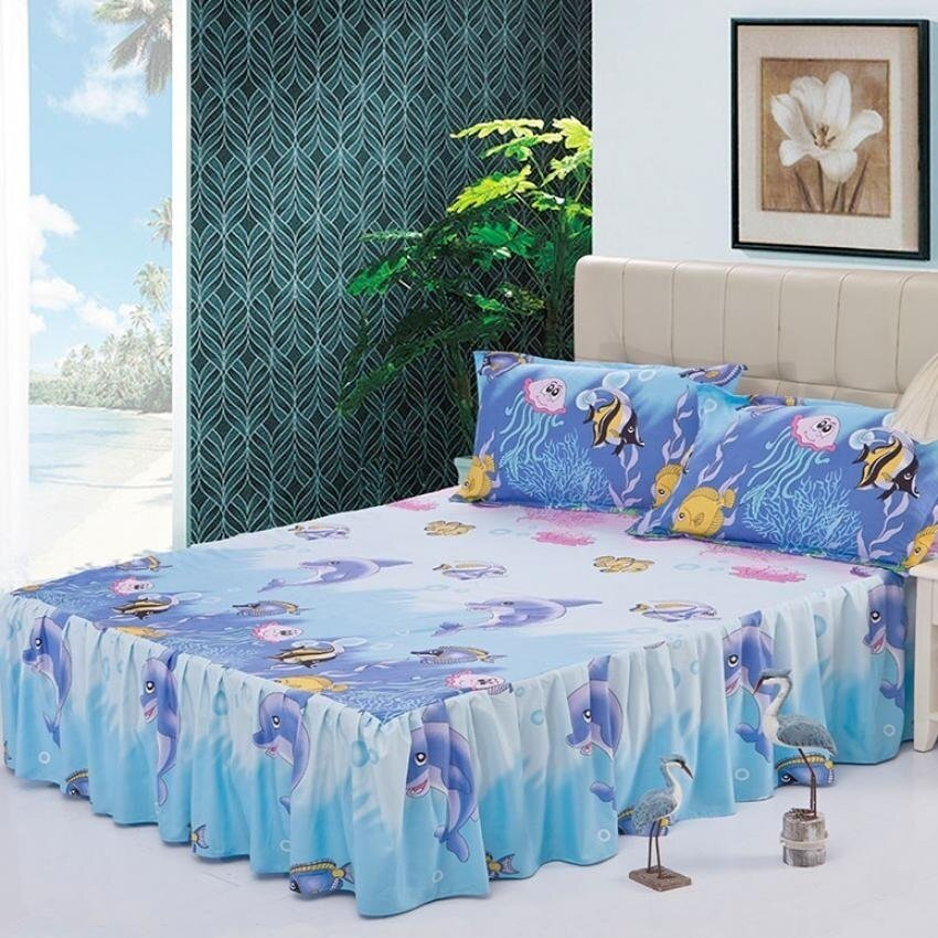 Soft Cotton Bed Skirt Bedsheets Bed Cover-28# Sea World - intl