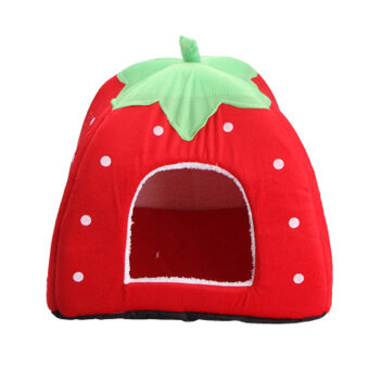 Soft Strawberry Pet Dog Cat Bed House Red