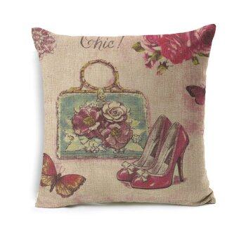 Sparkle Girl Decorative Cushion Cover Red Shoes Lady Accessory Printed Linen Sofa Pillow Cover Cases