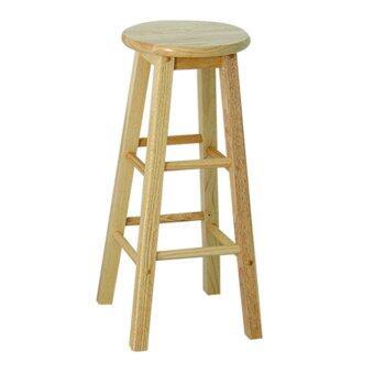 SR SVF เก้าอี้ไม้ยางพาราแท้ สูง 29 นิ้ว (สีไม้ธรรมชาติ)
