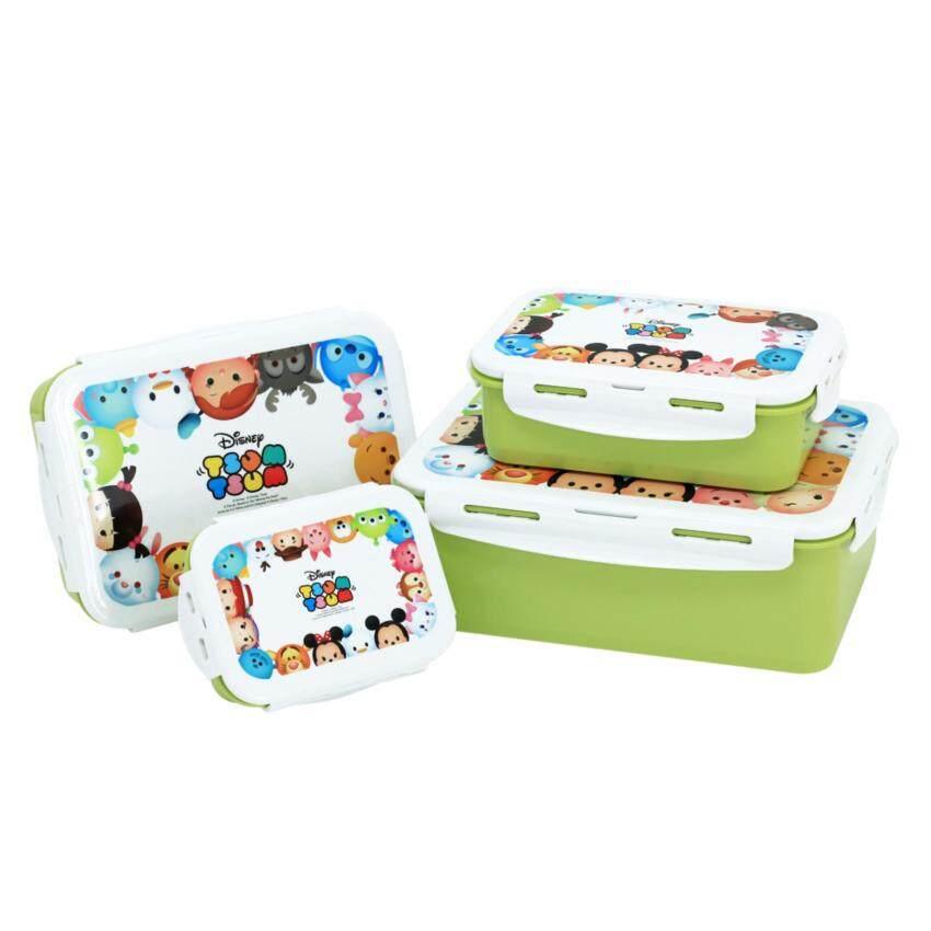 Super Lock ชุดกล่องอาหาร 8 ชิ้น รวมฝา (ลาย Disney Tsum Tsum สีเขียว)