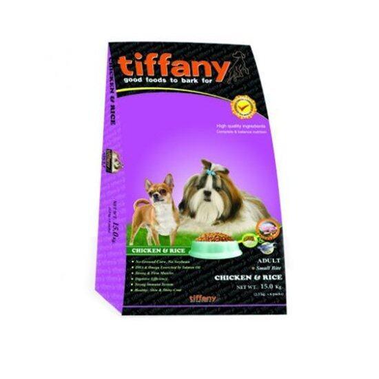 TIFFANY ทิฟฟานี ซุเปอร์พรีเมี่ยม สำหรับสุนัขโตตั้งแต่ 1 ปีขึ้นไป สูตรเนื้อไก่และข้าว (เม็ดเล็ก)