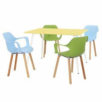 U-RO DÉCOR ชุดโต๊ะรับประทานอาหาร MARCO สีเหลือง/ขาขาว + เก้าอี้รับประทานอาหารสีฟ้า 2 ตัวและสีเขียว 2 ตัว รุ่น BLOOMBERG โต๊ะ 1+เก้าอี้ 4 ตัว