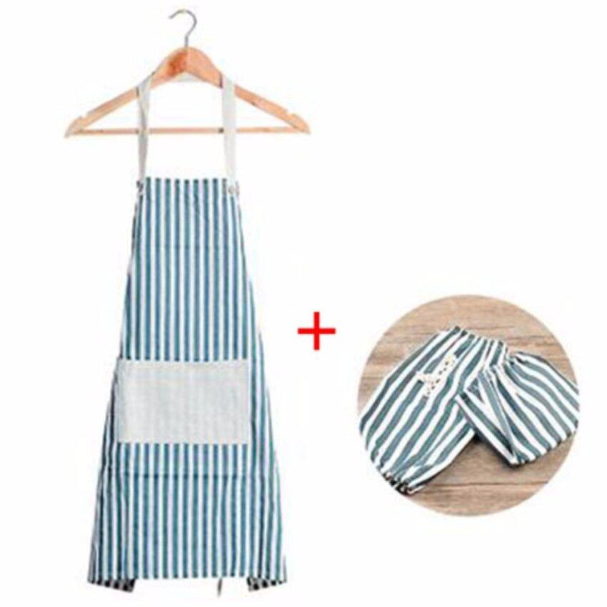 XKP Anti-oil kitchen waterproof apron Pure cotton simple apron Apron sleeves set - intl ...