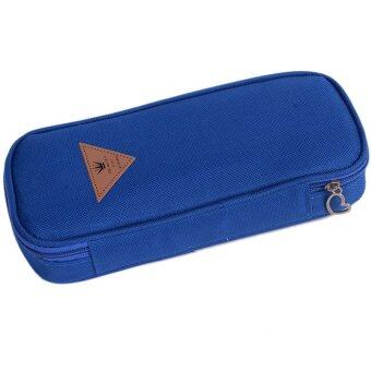 Yingwei Canvas Pencil Bag Pens Coin Pouch Blue